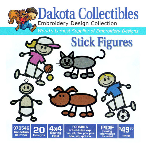 Dakota Collectibles Stick Figures Embroidery Design CD