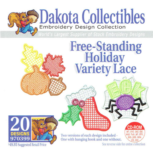 Dakota Collectibles Free-Standing Holiday Variety Lace Embroidery Design CD