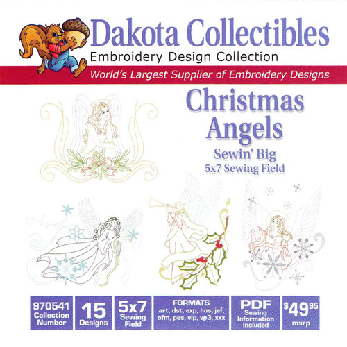Dakota Collectibles Sewin' Big Christmas Angels Embroidery Design CD