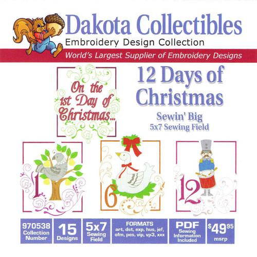 Dakota Collectibles Sewin' Big 12 Days of Christmas Embroidery Design CD