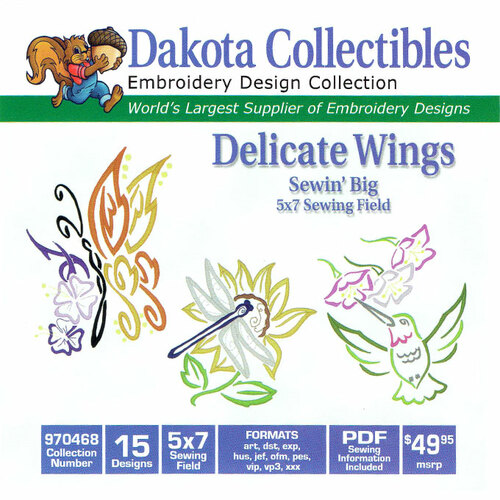 Dakota Collectibles Sewin' Big Delicate Wings Embroidery Design CD