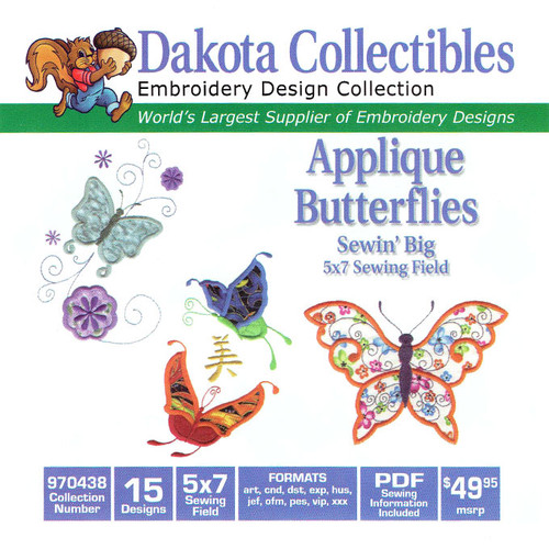 Dakota Collectibles Sewin' Big Applique Butterflies Embroidery Design CD