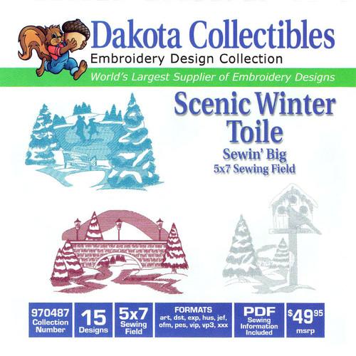 Dakota Collectibles Sewin' Big Scenic Winter Toile Embroidery Design CD