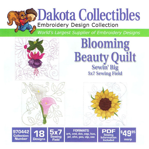Dakota Collectibles Sewin' Big Blooming Beauty Quilt Embroidery Design CD