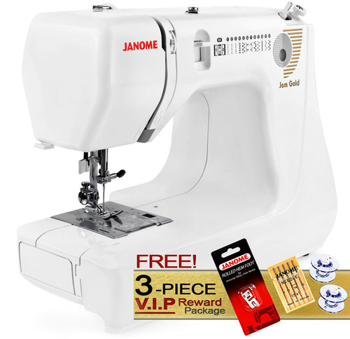 Janome Jem Gold 660 Lightweight Sewing Machine w/ FREE! 3-Piece V.I.P Reward Package and FREE! 2nd-Day Shipping