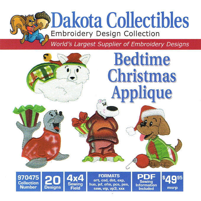 Dakota Collectibles Bedtime Christmas Applique Embroidery Design Cd
