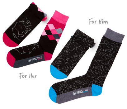 His & Her's Sock Set - Black Rhino