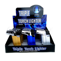 12pc Display Triple Torch With Cigar Punch (MSRP $6.99ea)