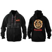 Raw Black Zip Large Hoodie with Custom Raw Poker Strings (MSRP $60.00)