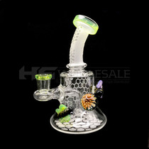 Honeycomb Etched Bee Oil Rig (MSRP $80.00)