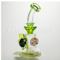"9"" Cheech Glass Green Sea-Turtle Marble Rig (MSRP $160.00)"