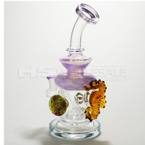 "8.5"" Cheech Glass Purple Sea-Horse Marble Rig (MSRP $160.00)"