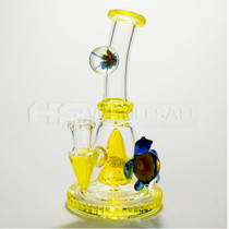 "7.5"" Cheech Glass Turtle-Flower Perc Rig (MSRP $140.00)"