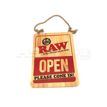 RAW WOOD SIGN OPEN PLEASE CONE IN