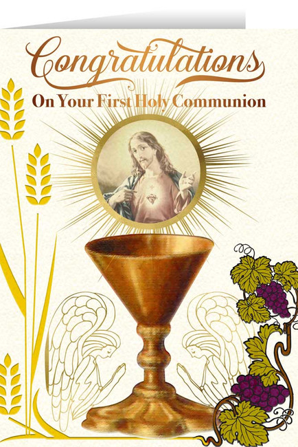 Occasions first communion first communion gifts first sacred heart chalice first communion greeting card m4hsunfo