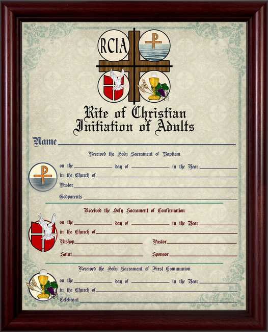 RCIA Sacrament Certificate of Initiation Unframed - Nelson Fine Art ...