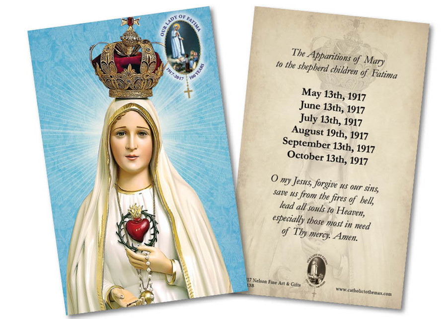 Fatima 100 Year Anniversary with Apparitions and O My Jesus Prayer Holy Card