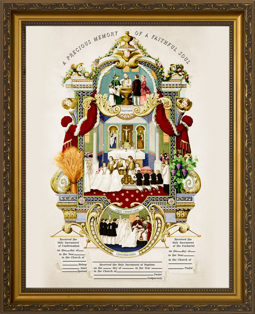 traditional sacraments of initiation record certificate in gold