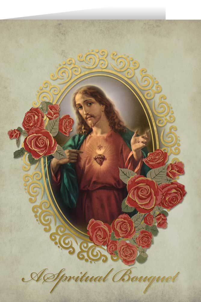 Sacred Heart Spiritual Bouquet Greeting Card Nelson Fine Art Gifts