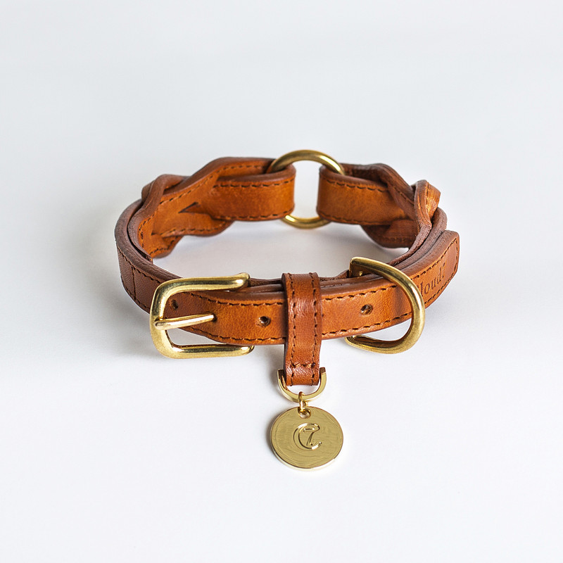 Dog Collar - Hyde Park Braided Leather Cognac Small www.hugoandotto.com