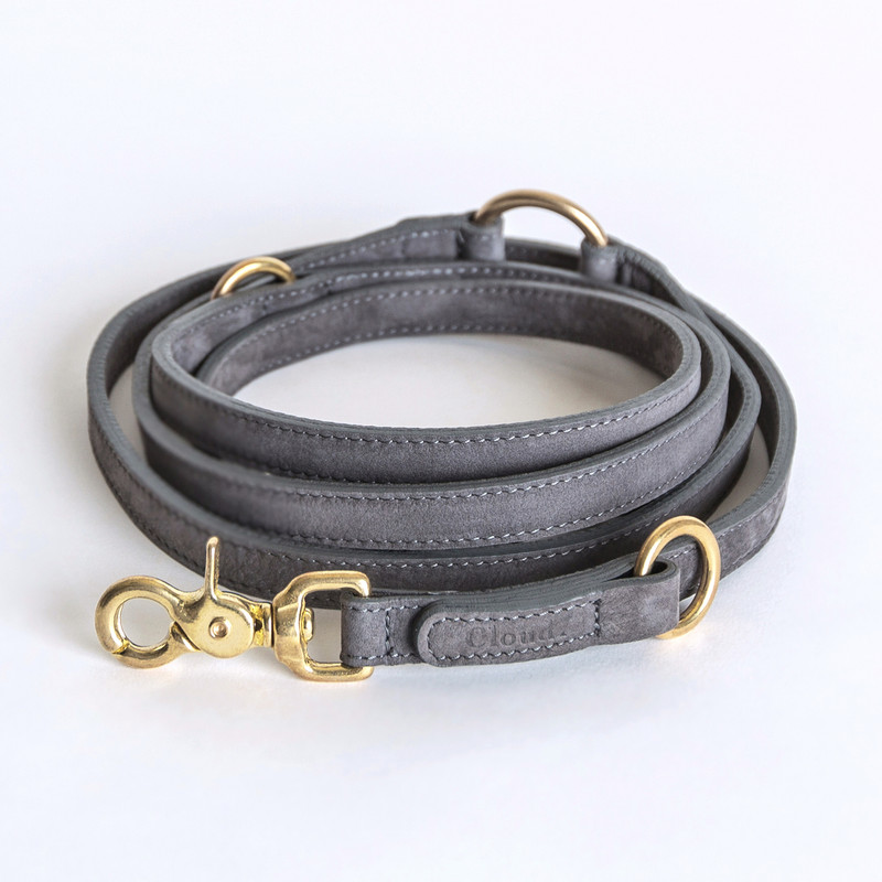 Dog Lead - Tiergarten Nubuck Grey Taupe Small www.hugoandotto.com