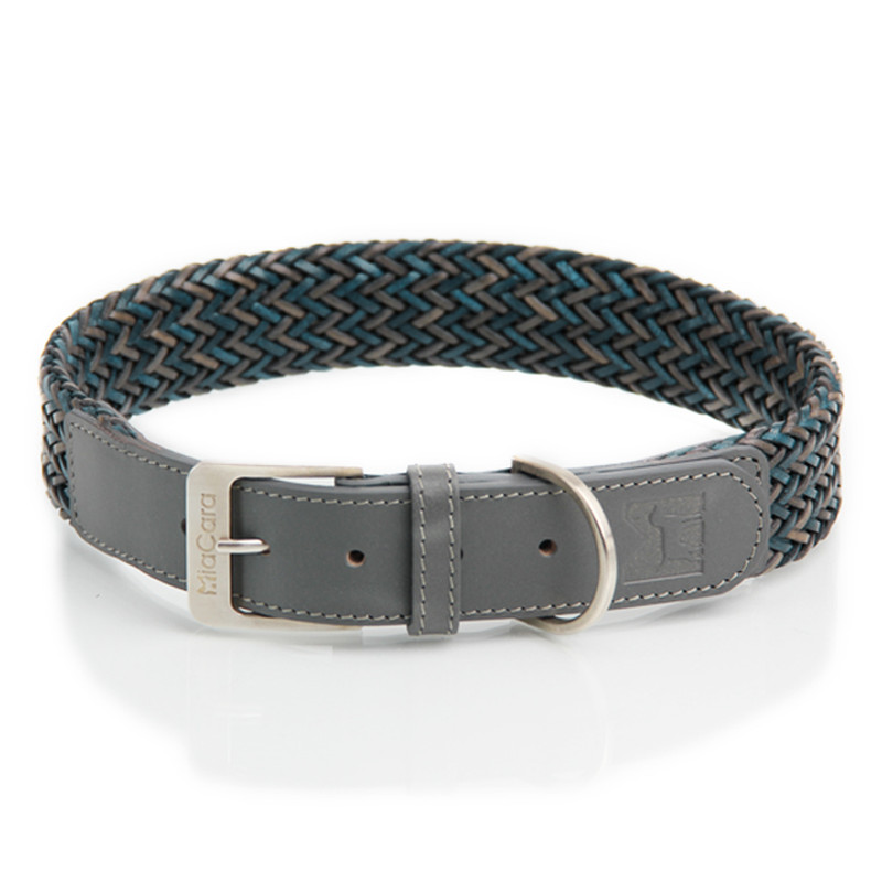 Dog Collar - Firenze Petrol Grey_Walk_ML_www.hugoandotto.com