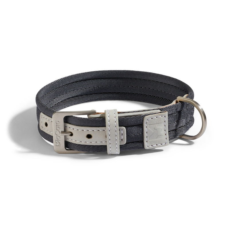 Dog Collar - Riva Graphite / Pearl Grey_Walk_Large_www.hugoandotto.com