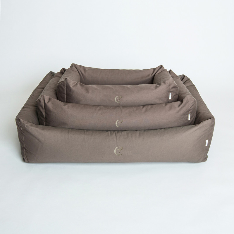 Dog Bed - Sleepy Organic Canvas_Olive_Stack_www.hugoandotto.com