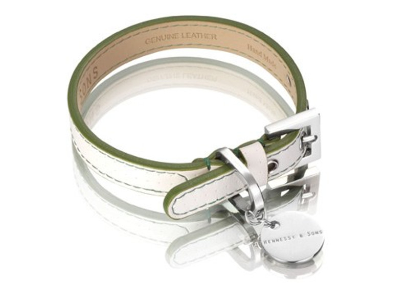 Dog Lead - Polo Club Collection_White Perforated Italian Calf Leather_Green_www.hugoandotto.com