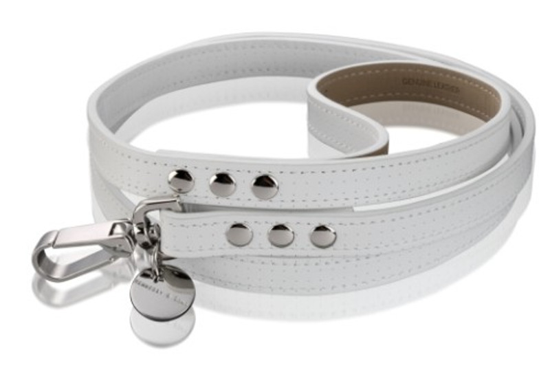 Dog Lead - Polo Club Collection_White Perforated Italian Calf Leather_www.hugoandotto.com