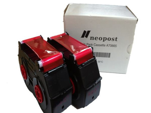 Original Neopost SM22 / SM26 Franking Machine Ink Cassette Twin Pack - RED