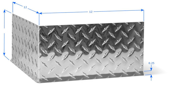 Polished Diamond Plate Premolded Outside Corner with cove bend