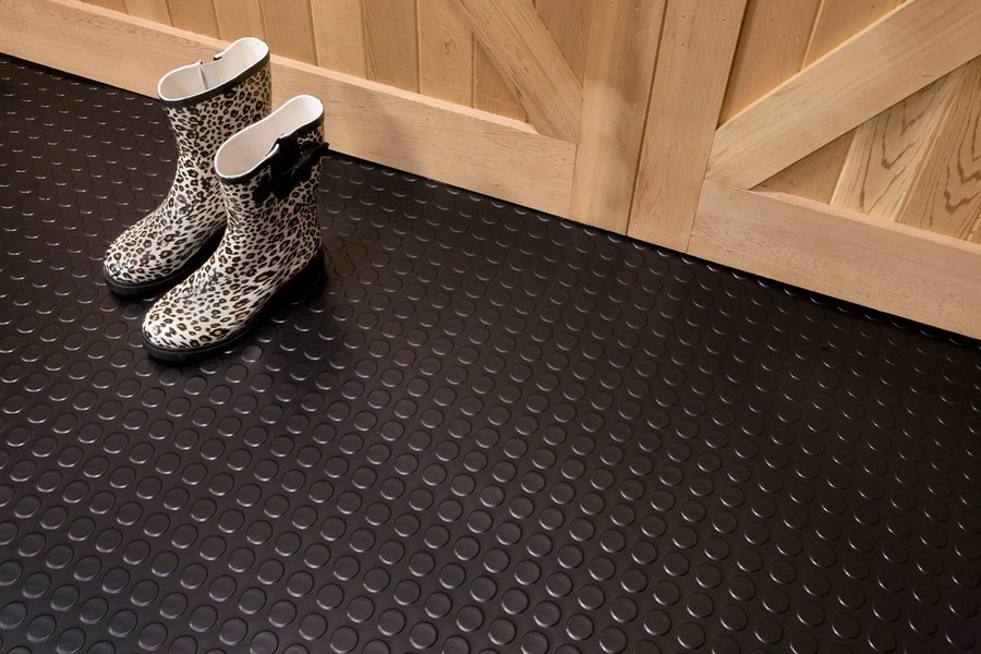 G Floor Coin Pattern Rollout Floor Covering Midnight Black used in a barn