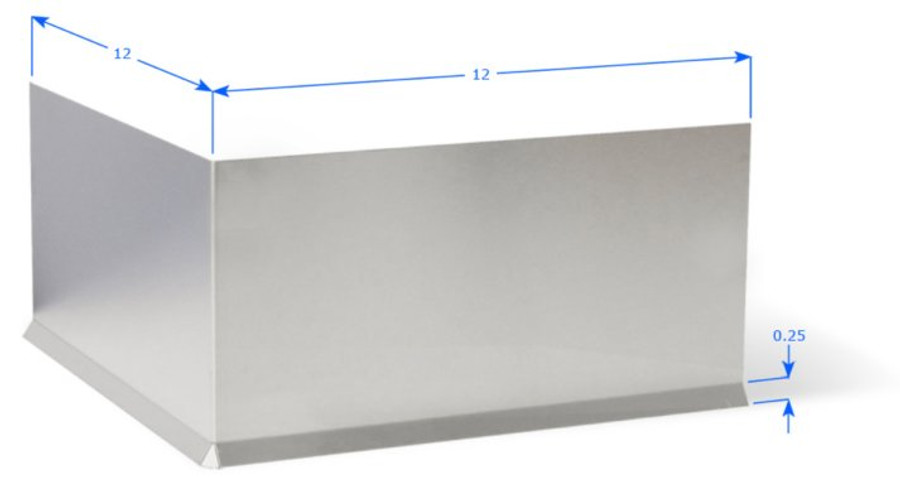 """Premolded Outside Corner with 12"""" Wings, and 1/4"""" Cove Bend, Brushed Aluminum 18 GA"""