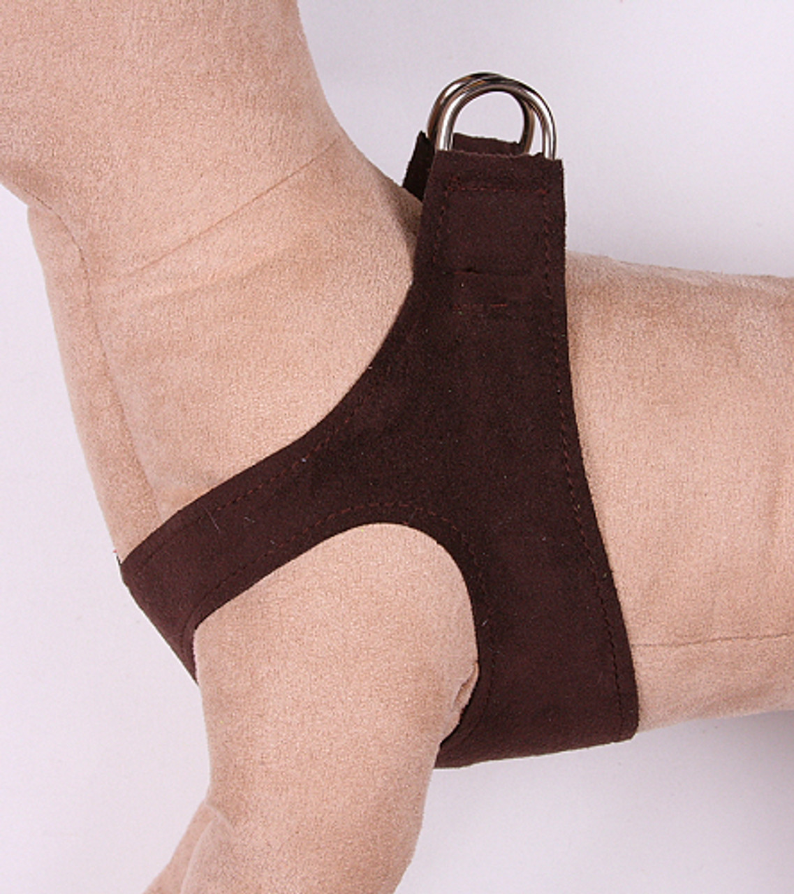 Q111CHOPLN_500__93067.1460903525?c=2&imbypass=on plain ultrasuede pet dog step in harness chocolate