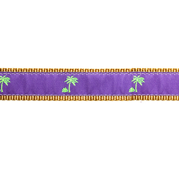 Purple Palm Tree 3/4 & 1.25 inch Dog Collar, Harness