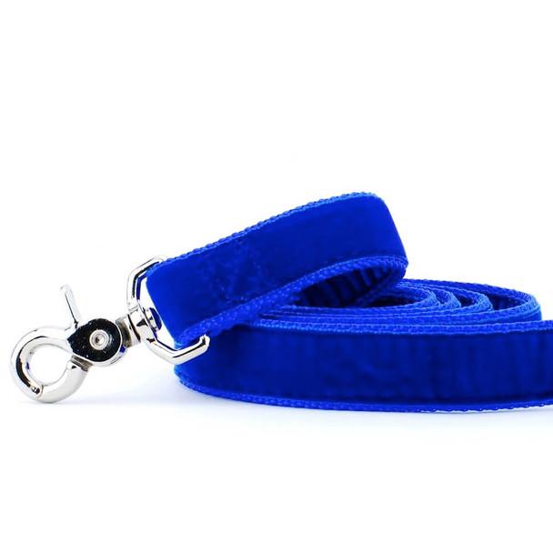 Royal Blue Swiss Velvet Dog Leash