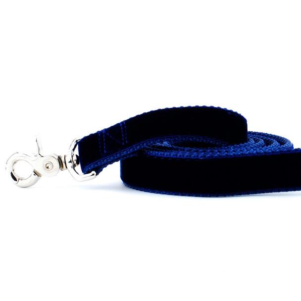 Navy Blue Swiss Velvet Dog Leash