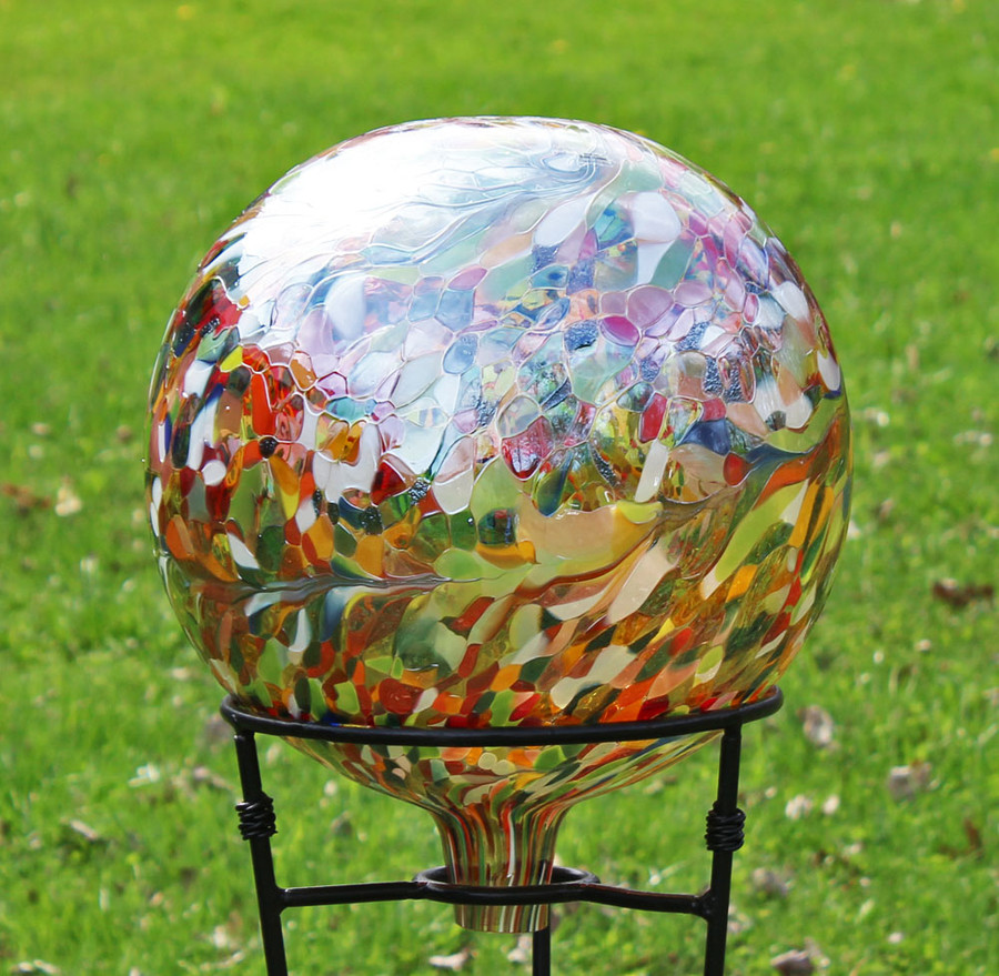 "Glass Gazing Ball ""Multi-color II"" 12 Inch (color outside)"