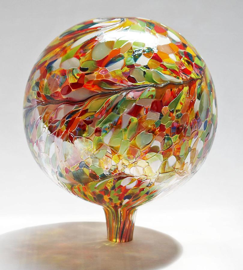 "Glass Gazing Ball ""Multi-color II"" 12 Inch (color outside)"