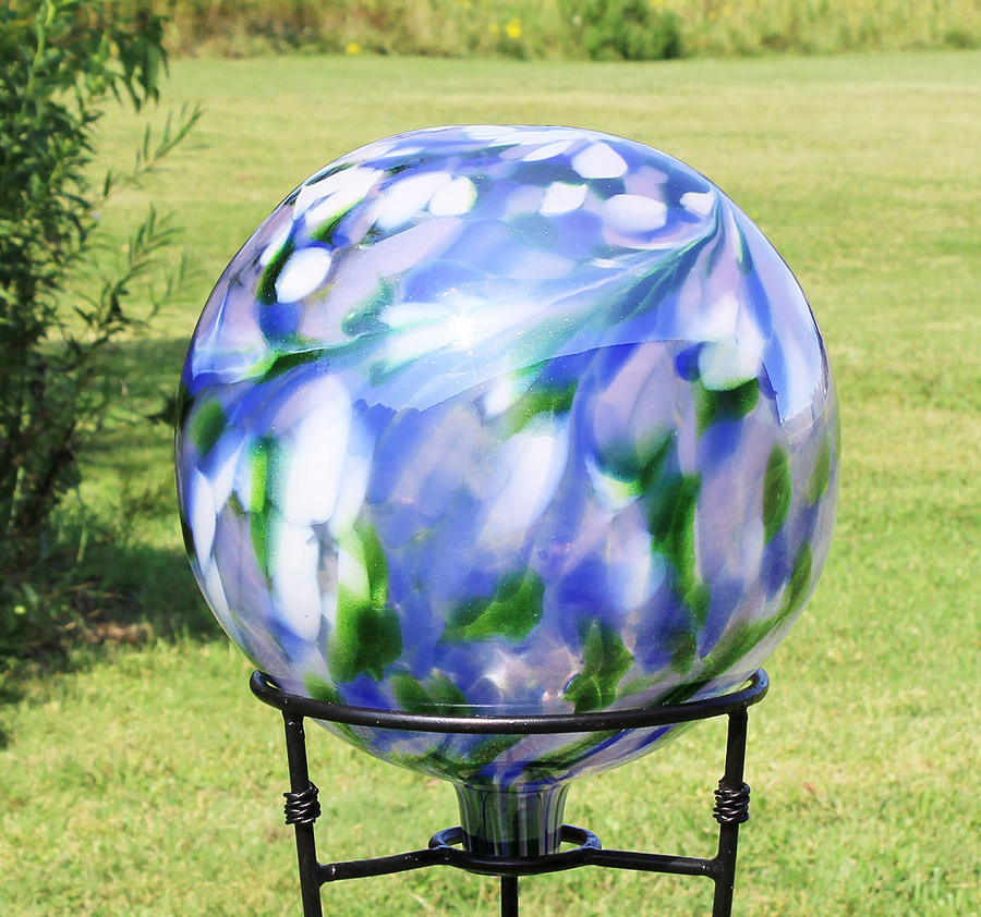 "Glass Gazing Ball ""Garden View"" 12 Inch Factory 2nds"