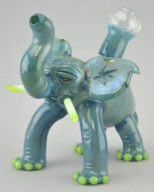DOMINO - Sculpted Elephant Vapor Rig w/ 14mm Dome - Teal/Slyme