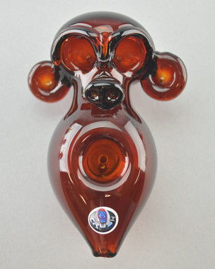 "CRUSH - ""Monkey Head"" Spoon Pipe w/ Single Hole Push Bowl & Carb - #1"