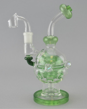 BRANDON CLARK - Mini Fab Egg Vapor Rig w/ 4-Slit Perc & 14mm Quartz Banger - Green Stardust