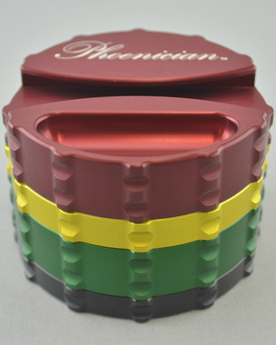 PHOENICIAN - Large 4-Piece Grinder w/ Paper Holder & Ash Tray - Rasta