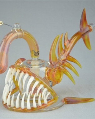 """BUCK/GEMINI ANDY - """"Angler Fish"""" 8-Slit Bubbler w/ 18mm Belly Button Style Vapor Curve - #2"""