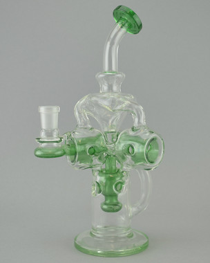 LOGJAM - Swiss Stack Recycler Rig w/ 3-Hole Perc & 14mm Female Joint - Green Stardust