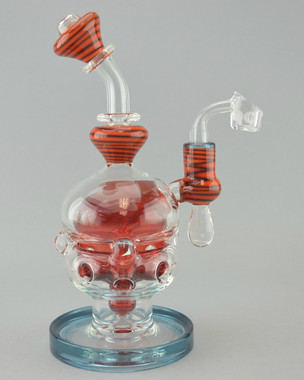 BRANDON CLARK - Fab Egg Vapor Rig w/ 2-Slit Perc & 14mm Quartz Banger - Red/Blue
