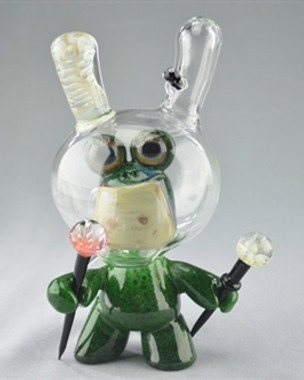 "CAP'N CRUNK - Worked ""Frog Astronaut Dunny"" Vapor Rig w/ 14mm Dome and 6 Slit Fixed Diffy"
