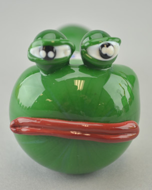 "CRUSH - ""Pepe he Frog"" Spoon Pipe w/ Single Hole Push Bowl & Carb - #1"